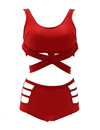 Lukitty Women's 2PCS Plus Size High Waist Strappy Bikini Set Swimsuits Swimwear 4XL Red