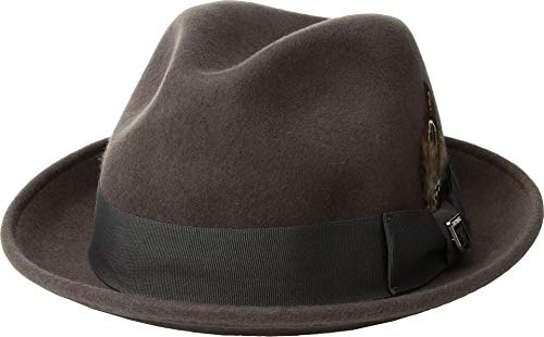 (STACY ADAMS Men's Fedora with Matching Hat,Grey,L)