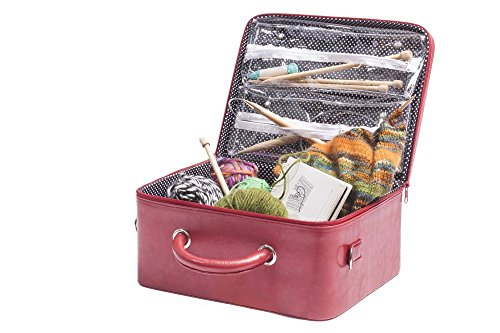 G.U.S. Knitting Organizing Case - Organize Knitting Notions, Supplies, And Needles With Internal Zippered See-Through Storage Compartments by Great Useful Stuff