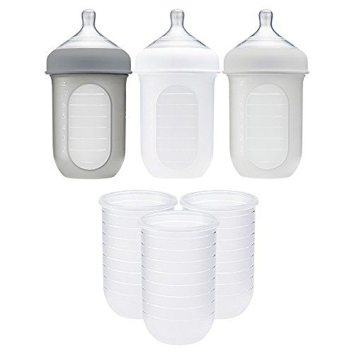Boon NURSH 8oz Bottles 3pk - Clear + NURSH 8oz Silicone Pouch 3pk