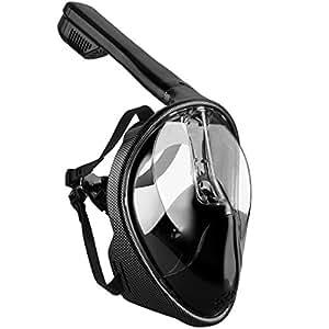 OMORC Máscara de Snorkel, Seaview 180 ° Máscara de Buceo para Snorkel (L/Negro)