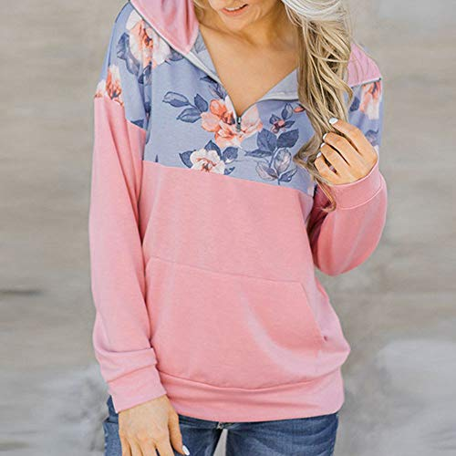 Longue Imprimer Cou Haut Blouse Dcontracte Pink Poche Femme Zipper Shirt Chemisier Chic V T Manche Floral wXS1aq