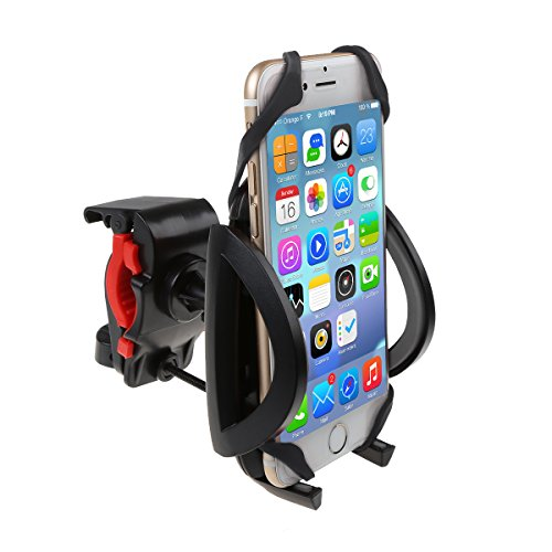 Bike Mount, Bicycle Handlebar Phone Holder 360 Degrees Rotatable Universal Smartphone Cradle Clamp adjustable Bracket with Silicone Band for iPhone 8 iPhone 6 Plus Samsung S7 Edge GPS MP3 MP4 Player