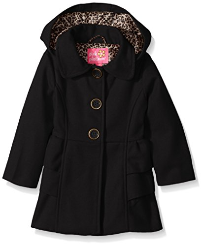 Pink Platinum Baby Girls Adorable Side Ruffles Wool Jacket, Black, 24M ()