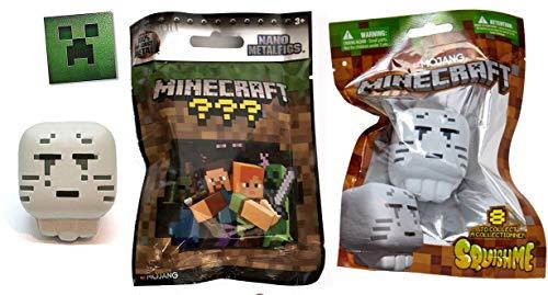 Ghast Soft Foam Minecraft Squish Adventure Chest Series + Mini Figure Metal Nano Blind Pack Collectible Figure + Creeper Sticker Bundle