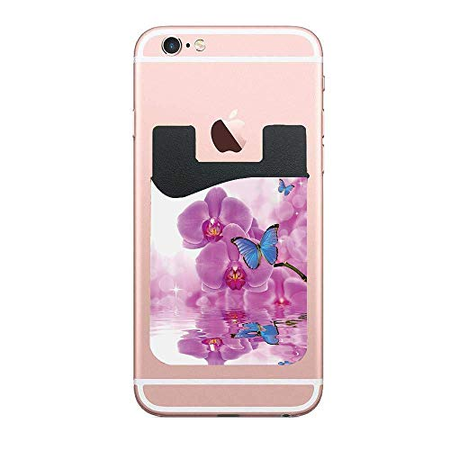 Cellcardphone Butterflies Decoration Orchid Butterflies Morpho Reflection On Water Bloom Botany Plant Branch Premium Cell Phone Card Holder Sticker Firmly Mobile Cell Phones 2 PCS