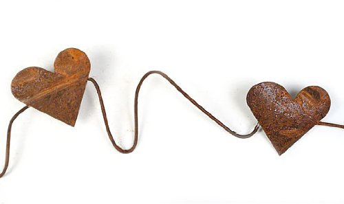 Garland Heart Wire (Set of 3-6ft Primitive Rusty Tin Heart Garland-18 Ft. Total)