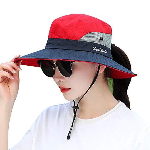 Lvaiz Waterproof Sun Hat Outdoor UV Protection Bucket Mesh Boonie Hat Adjustable Fishing Cap for Women (Red&Navy, One Size)