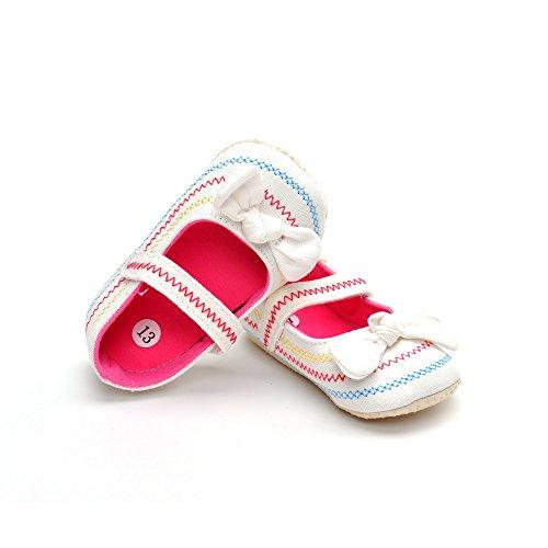 Bebé niñas 'Denim Rainbow Wave Flats, color blanco, talla 12-18 meses blanco
