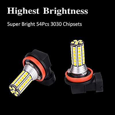 Pack of 2 H11 LED Fog Light Bulb - 6000Lumens Super Bright White 6000K Car Fog Lamp,54Pcs 3030SMD for Fog Light or DRL Replacement: Automotive