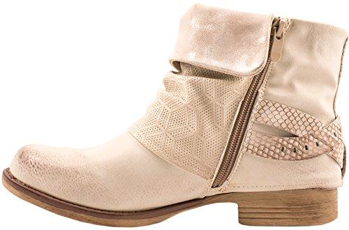 Elara Mujer Biker Boots | Metallic Prints Hebillas | aspecto de piel Remaches Botines | forrado Beige London
