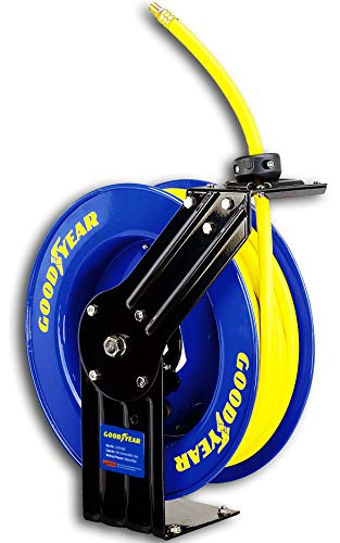 Goodyear L815153G Steel Retractable Air Compressor/Water Hose Reel with 3/8 in. x 50 ft. Rubber Hose, Max. 300PSI ()