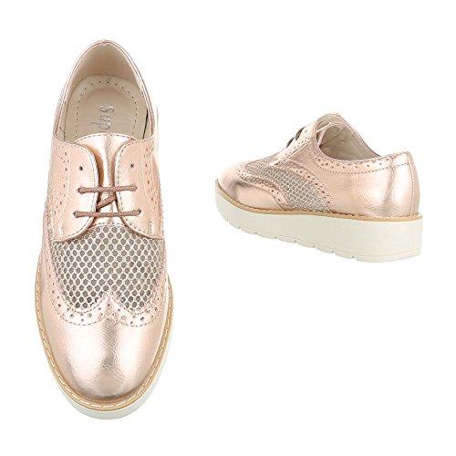 Ital-Design - Zapatos Planos con Cordones Mujer Rosa Gold 62015