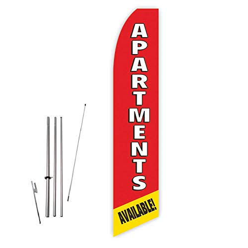Apartments Available! (Red/Yellow) Super Novo Feather Flag - Complete with 15ft Pole Set and Ground Spike