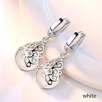 Lindsie-Box 925 Sterling Silver Moonlight Opal Tears Cat Eye Stone Totem Dangle Drop Earring for Women Gift Boucle doreille