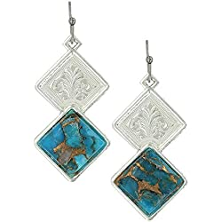 "Montana Silversmiths Doubled Down Diamond Silver and Turquoise Earrings, 1.57"" Length - French Hooks"