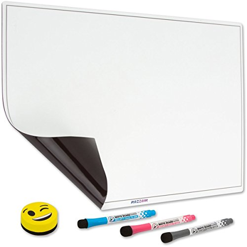 """nazzam! Magnetic Dry Erase Board for Fridge - Large Size 17""""x13"""" Refrigerator Whiteboard - Packaged Flat with 3 Markers & Eraser - A Fridge Whiteboard Sheet for To-Do Lists, Reminders & Family Notes"""