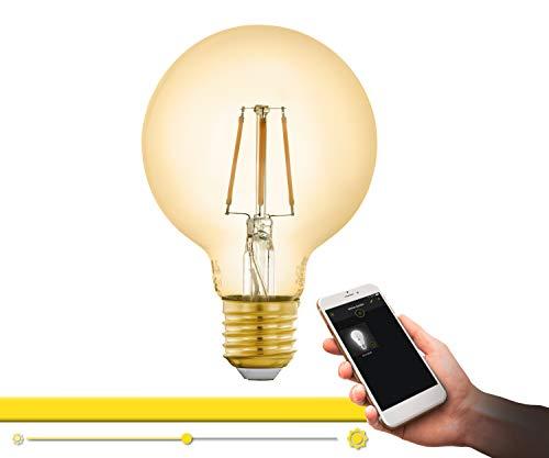 EGLO Connect 12572 - Bombilla LED E27, estilo vintage, color ámbar, 5,5 W (equivalente a 41 W), 500 lúmenes, E27, intensidad regulable, luz blanca cálida, 2200 K, G80, diámetro de 8 cm