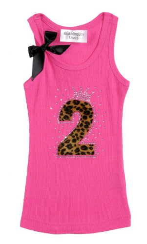 Bubblegum Divas Baby Girls 2nd Birthday Princess Pink Cheetah Tank Top (Toddler Girls Ribbed Sleeveless Top)