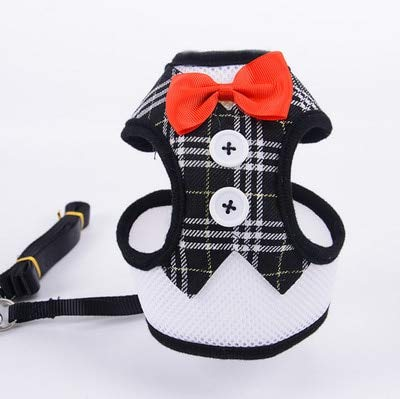 HBK2 Elegant Cat Dog Harness Vest with Leash Bowtie Adjustable Suit Tuxedo Cute Bowknot Cat Harness Leash Set for Cats Kitten -