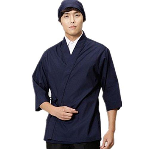 XINFU Sushi Chef Uniform 3/4 Long Sleeve Hotel Japanese Restaurant Kitchen Chef Coat by XINFU (Image #1)