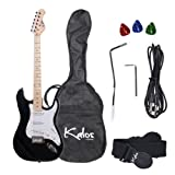 Kalos 1EG-MBK 39-Inch Electric Guitar with Gig Bag , 3 Picks, Strap, Amp Cable, and Tremolo Arm - Full Size - Black Metallic