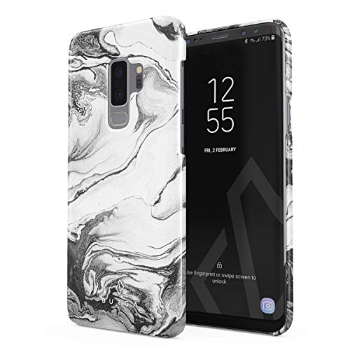 (BURGA Phone Case Compatible with Samsung Galaxy S9 Plus Case Silver Flow Water Grey Black and White Marble Thin Design Durable Hard Shell Plastic Protective Case)