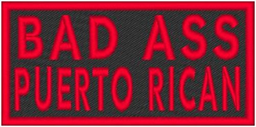 BAD ASS PUERTO RICAN Iron-on Patch Biker Emblem Red Merrow Border