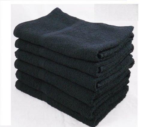 Globe House Products GHP 60-Pcs Black 16''x27'' Ringspun Cotton Under Weave Salon Gym Spa Hand Towels