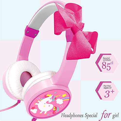 Unicorn Headphones for Kids Girls, Headphones for Phones with 85dB Volume Limited Wired Adjustable Bowknot On Over-Ear Headphones for Children Toddlers Tablet Travel Back to School Gifts Game Headset (Best Headphones For Flying 2019)