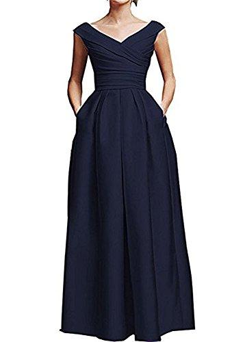 FOLOBE con cuello en V con volantes de la madre del vestido de novia de satén formal vestido de noche largo Azul marino