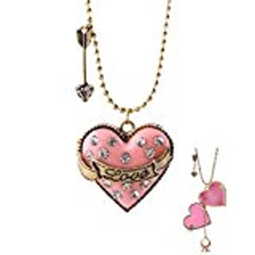 Couture Locket - Eve's Couture Love Pink Heart Locket Pendent with a Cute Ring Inside Locket Necklace: Cake Heart Pave Crystal Encrusted Pink High Quality Pendant Locket with Magnetic Closure & Secret Sparkly Mini Diamond Ring - Accented by Gold Love Sashay on 30 to 33 in. Adjustable Ball Chain with Arrow.
