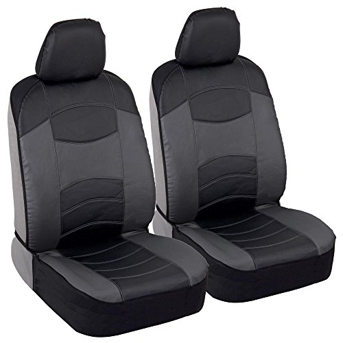 BDK Vegan Leather Sideless Car Seat Covers - Synthetic Leather Automotive Interior Protection Black/Light Gray - Front Seat Covers - Airbag Compatible - 3-Step Installation - (2PC) (Dark Gray) ()