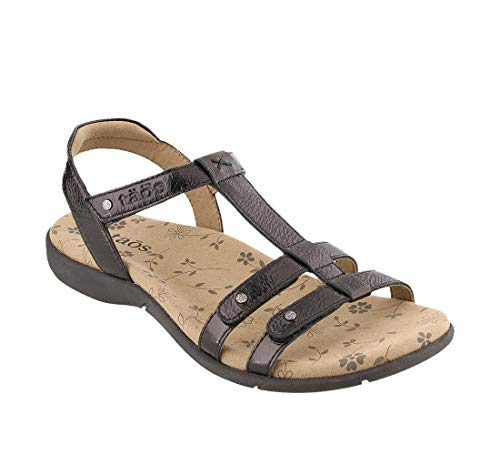 Taos Footwear Women's Trophy 2 Black Patent Sandal 11 M US
