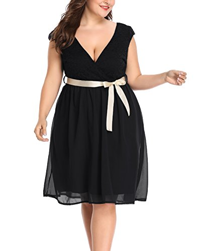 Surplice Chiffon Dress (Women's Plus Size Surplice V Neck Lace Bodice Sleeved A-Line Cocktail Wedding Dress Black 20W)
