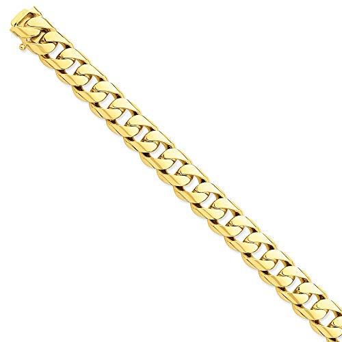 Roy Rose Jewelry 14K Yellow Gold 13mm Hand-polished Rounded Curb Chain Bracelet ~ Length 8'' inches