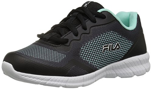 (Fila Showcase 3 Running Shoe Aruba Blue/Black/Metallic Silver 12 Medium US Big Kid)