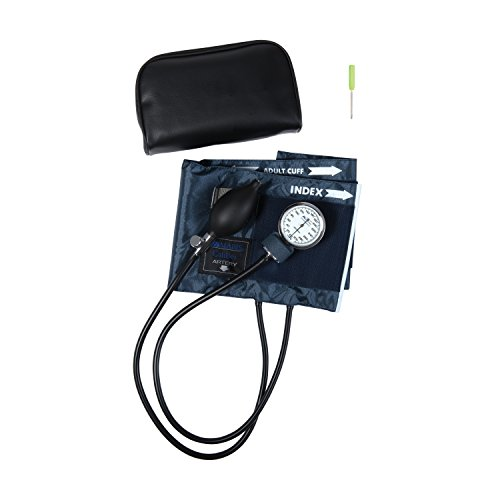 MABIS CALIBER Series Adjustable Aneroid Sphygmomanometer with Mini Screwdriver, Calibrated Blue Nylon Cuff and Deluxe Carrying Case, For Professional or Home Use, Adult, Cuff Size 11 to 16.4 Inches, Blue by MABIS DMI Healthcare (Image #1)