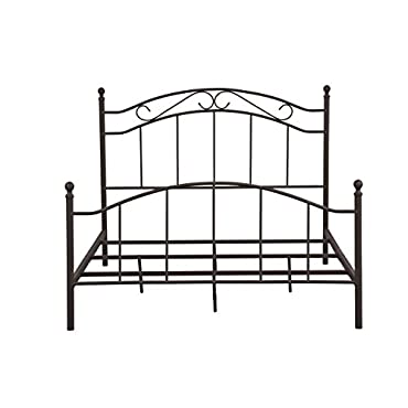 Pulaski Queen Brown Scroll Patterned All-in-One Metal Bed