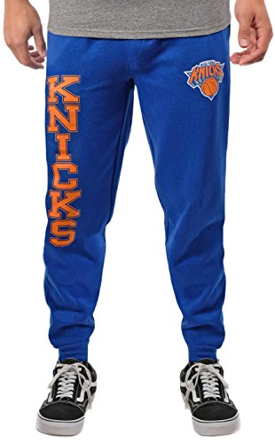 Ultra Game Mens NBA Jogger Pants Active Basic Soft Terry Sweatpants VSF5166M, New York Knicks, Team Color, X-Large