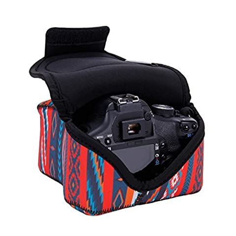DSLR Camera Case / Camera Sleeve (Southwest) with Neoprene Protection , Padded Dividers and Accessory Storage by USA Gear - Works With Nikon D3400 / Canon EOS Rebel SL2 / Pentax K-70 & Many More DSLRs