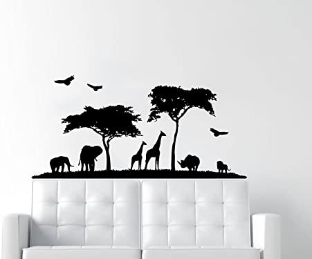 Safari Wall Stickers Zoo Animal Jungle Tree Baby Nursery Bedroom Decal Decor US