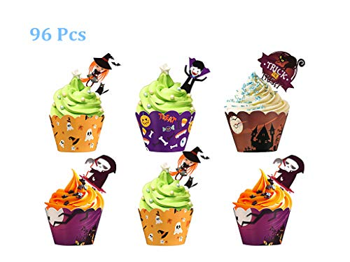 MGparty 96 pcs Halloween Party Supplies-48 pcs Cupcake Toppers 48 pcs Wrappers, Four Different Types Toppers Wrappers for Cake Decorations for $<!--$7.90-->