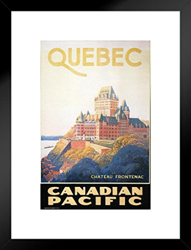 Poster Foundry Quebec Chateau Frontenac Closeup Vintage Travel Art Print Matted Framed Wall Art 20x26 inch ()