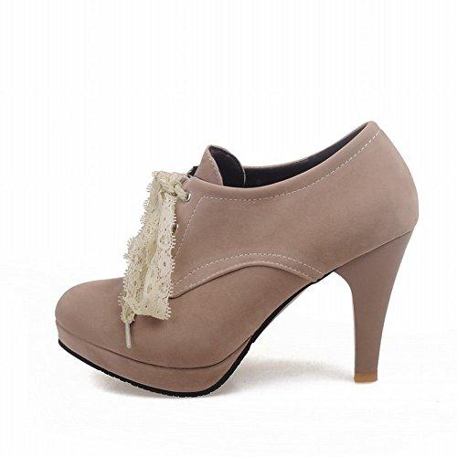 Ankle Heel Lace apricot High Women's Boots Platform Carolbar Fashion Suede wXSq0af