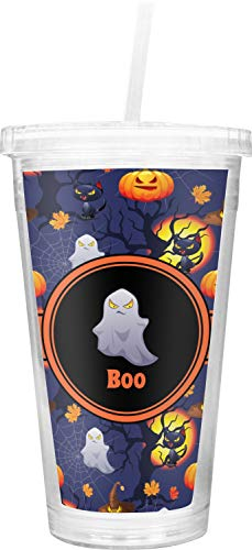 Halloween Night Double Wall Tumbler with Straw -
