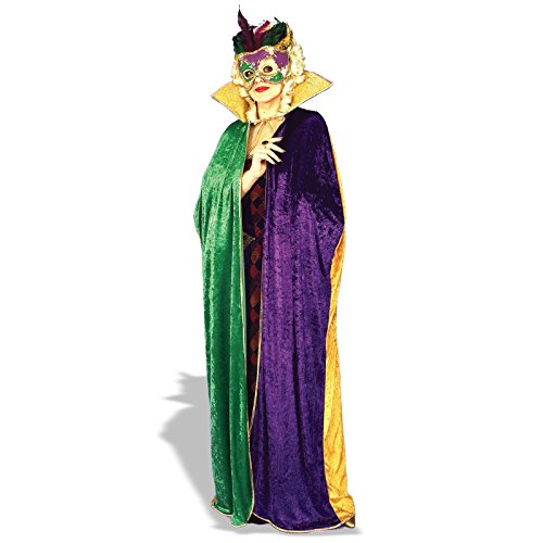 Forum Full Length Mardi Gras Cape, Green/Gold/Purple, (Wholesale Mardi Gras Decorations)
