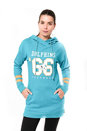 Miami Dolphins Team Colors - ICER Brands Adult Women Tunic Hoodie Pullover Sweatshirt Terry, Team Color, Aqua, Large