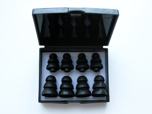 8pcs: 4 Large and 4 Small Black Soft Triple Flange Replacement Eartips Earbuds Set for AKG by Harman: K324P, K321, K328, K330, K340, K374, K375, K390, and K391 NC In-Ear Earphones