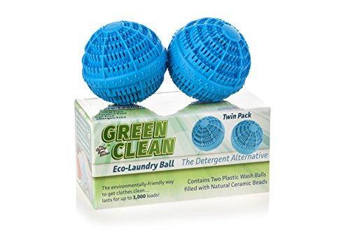 Environmentally Friendly Fabric (Reusable Non-Toxic Green Clean Eco Washer Laundry Balls - Environmentally Friendly All Natural Alternative Laundry Detergent, Eco Friendly and Chemical Free, 2 Pack)